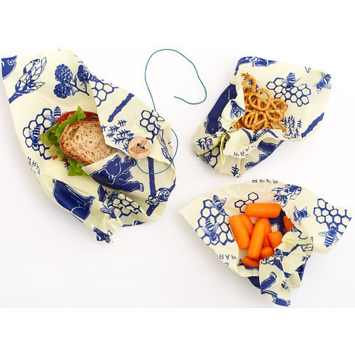3 PACK ASSORTED LUNCH WRAPS BEES + BEARS (1 SANDWICH, 2 MED)