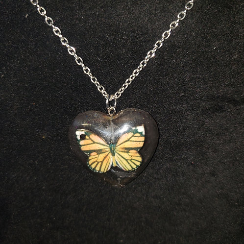 Butterfly Heart in clear resin Necklace