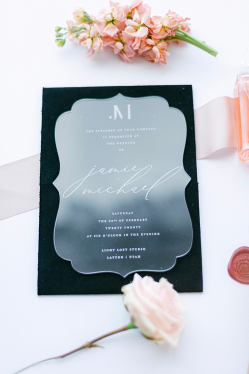 Bracket cut acrylic invitations