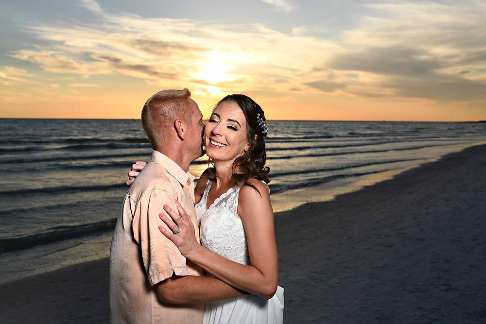 Beach wedding with sunset