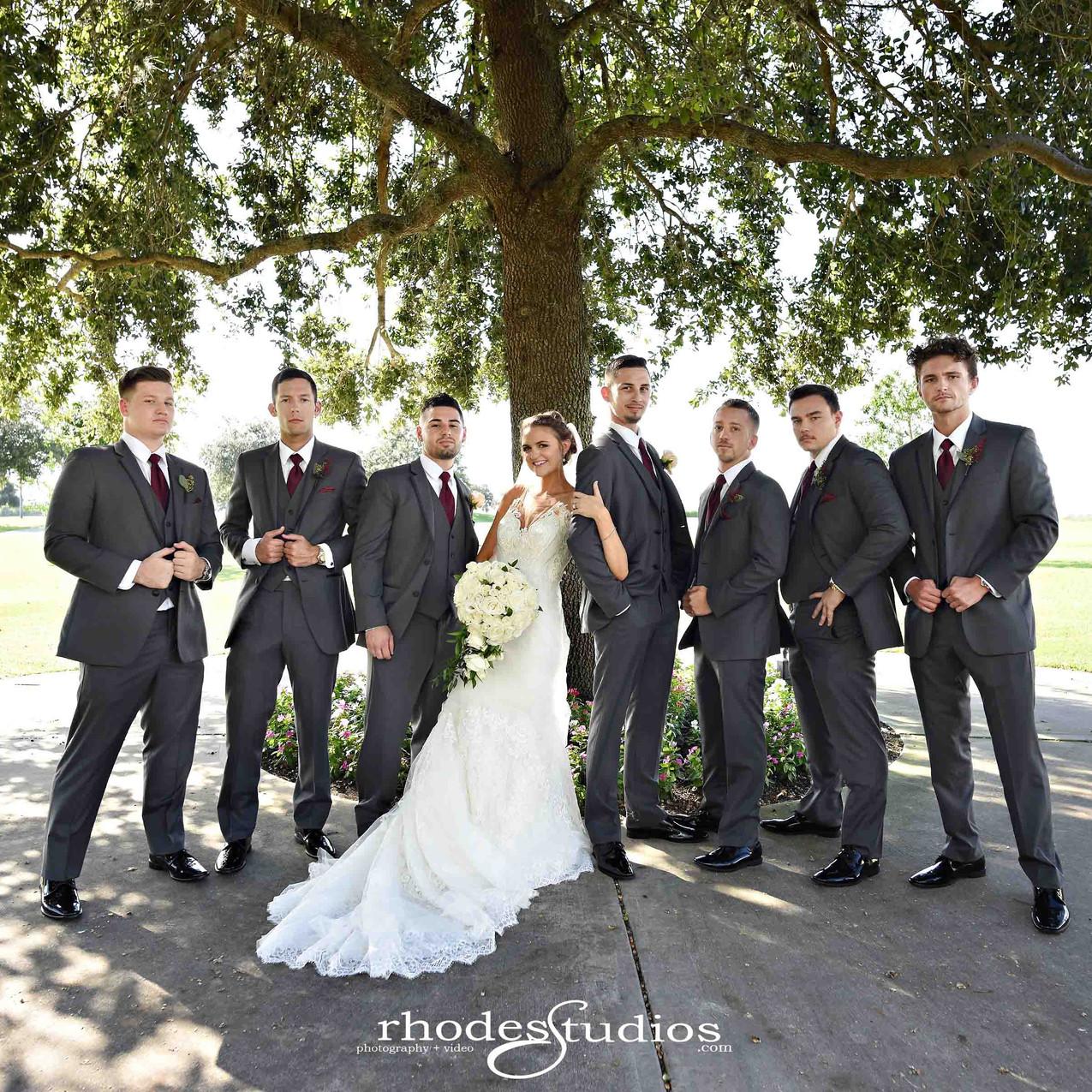 Bride and groomsmen fun