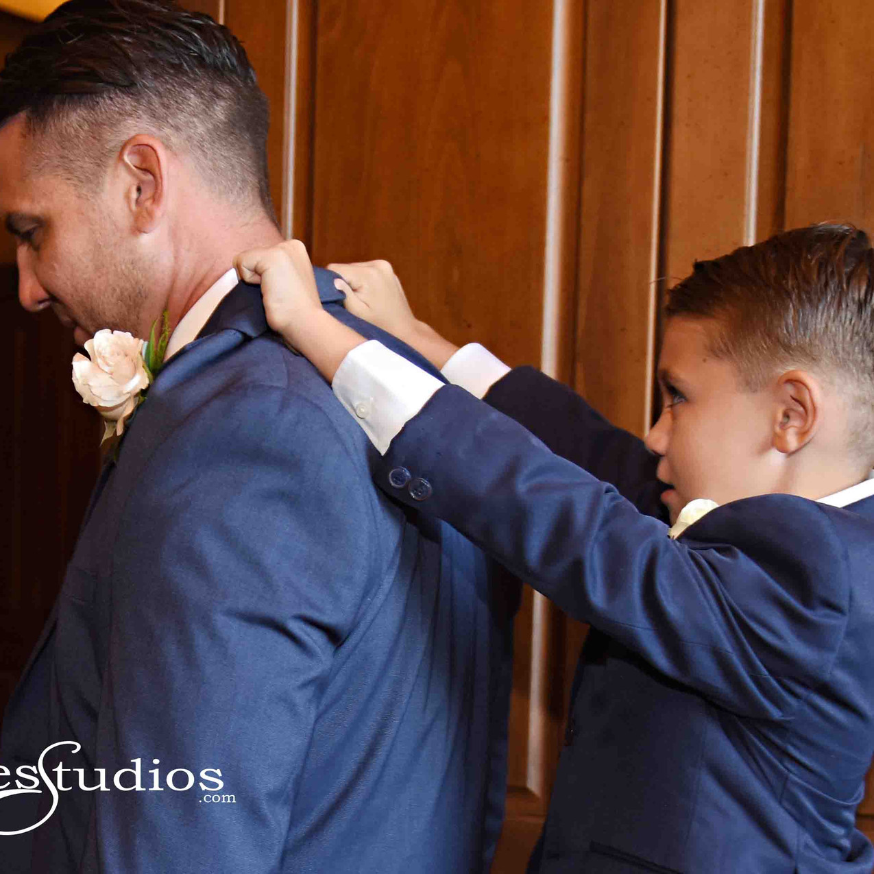 Even the groom gets a little help