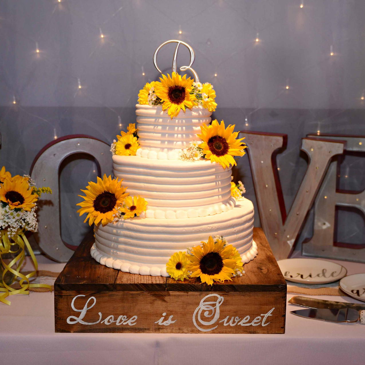 Rustic with sunflowers