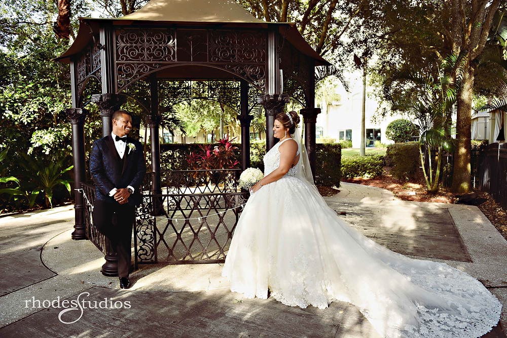 Bride and Groom portrait at gazebo at Orlando Omni Championsgate, Orlando wedding photography