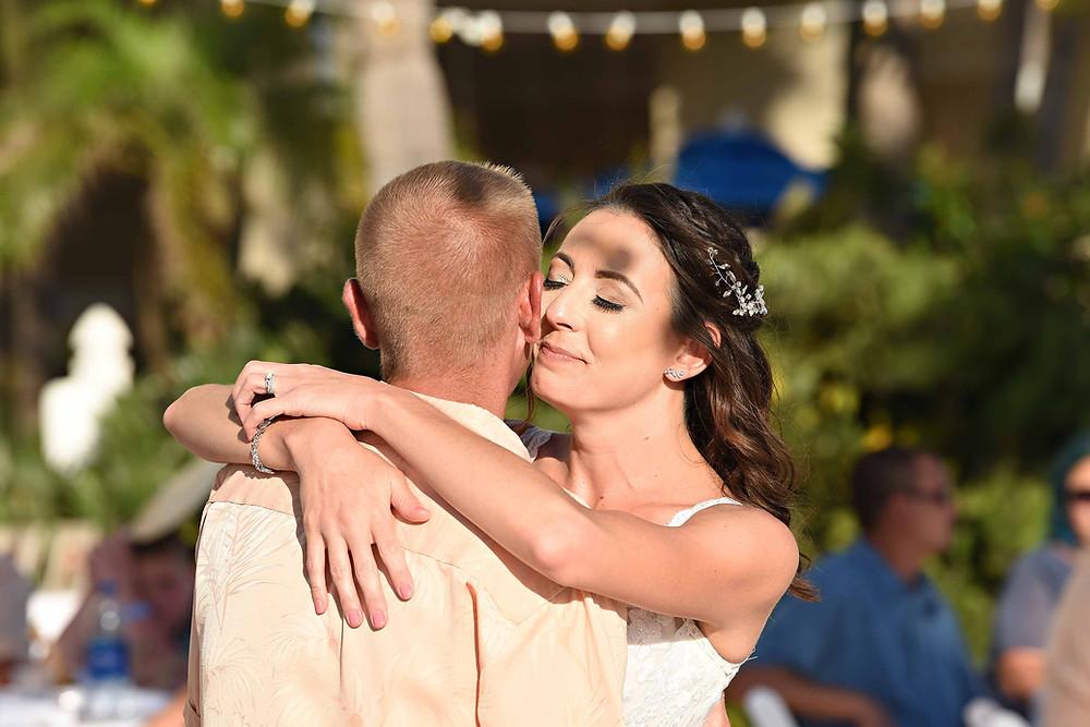 First dance beach wedding reception