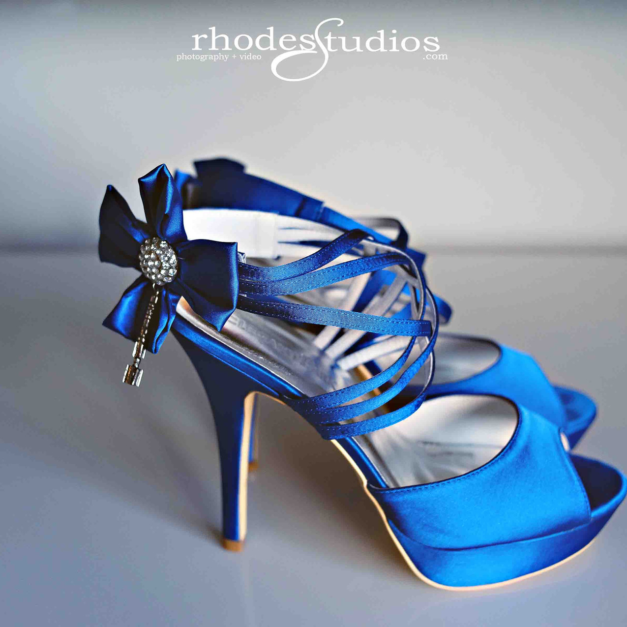 Her blue shoes