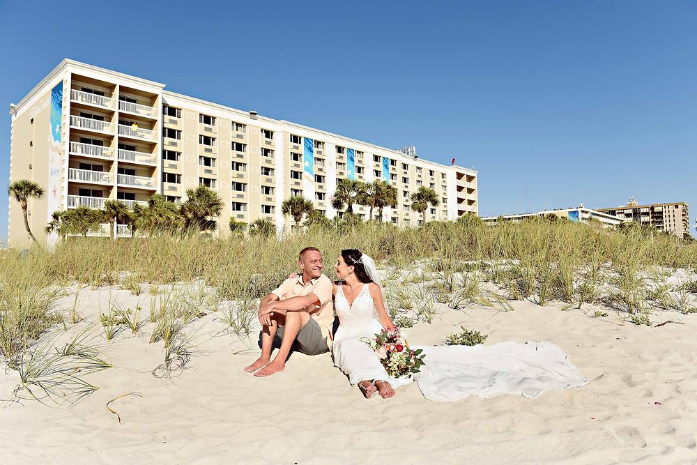 Wedding portraits on the sand dunes Beach wedding
