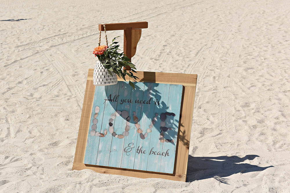 Beach wedding ceremony details