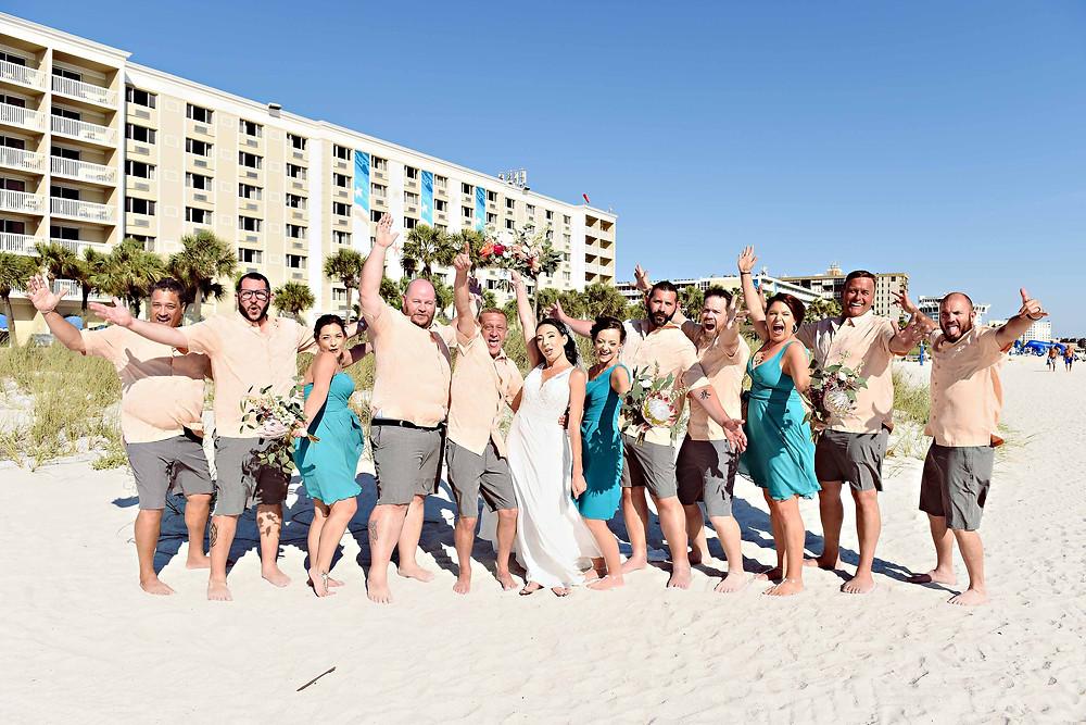 Wedding party portraits on the beach
