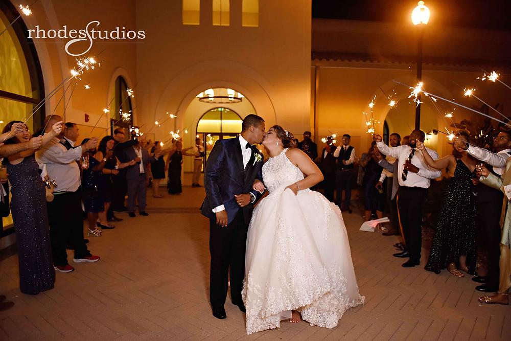 Bride and groom wedding sparkler exit at Orlando Omni Championsgate, Orlando wedding photography