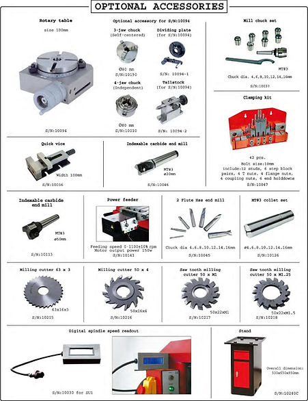 PERT Industrials CNC Mechanical Workshop Universal Milling Machine Accessories
