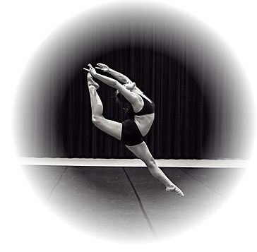 Black and white dancer jumping
