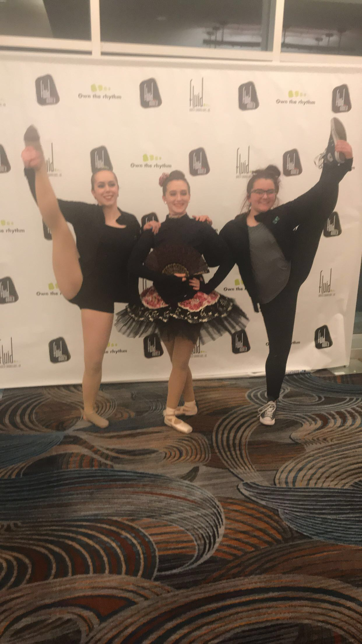 Competitive dancers posing