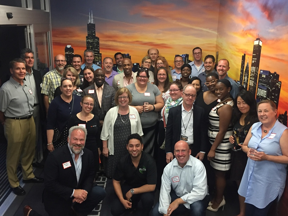 Chicago Chapter Group Photo at Vertiport Helicopter Facility