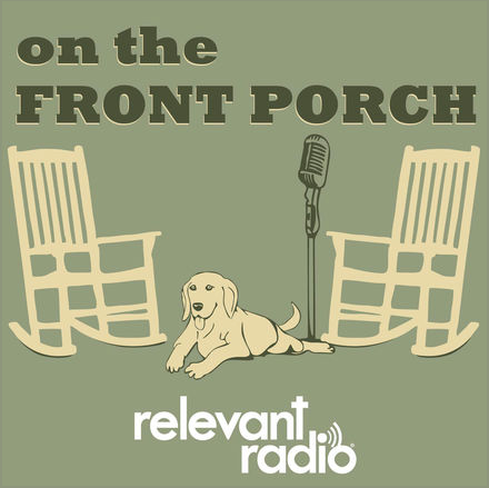 """""""On The Front Porch"""" radio show logo, with two rocking chairs and a dog with a microphone"""