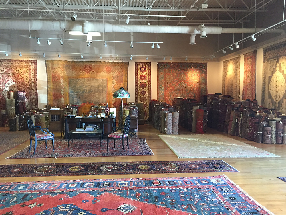 An upscale showroom for Persian and Oriental rugs