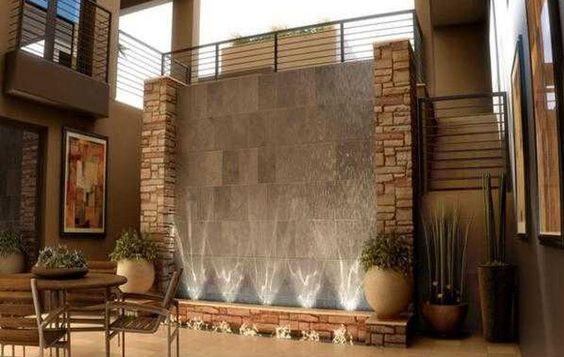 Indoor Water Feature with Uplighting