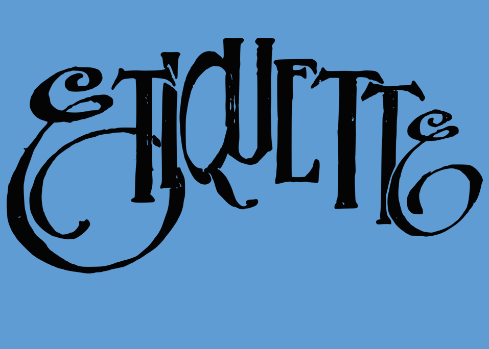 """The word """"etiquette"""" in script font with blue background"""