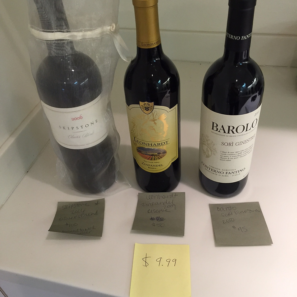 Three bottles of wine repriced for inventory purposes