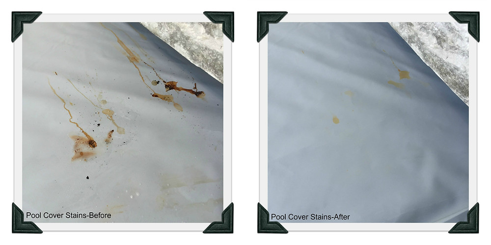 Pool Cover Stains- Before and After