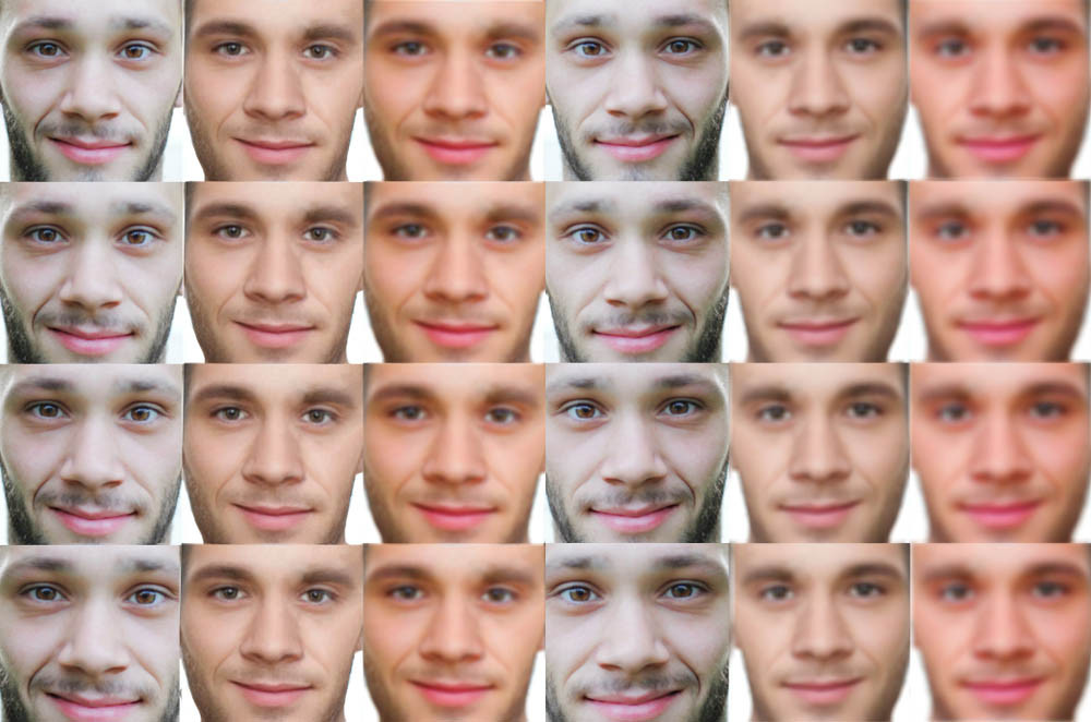 Grid of AI face matches