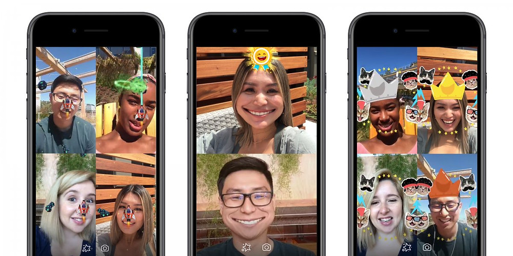 Friends playing AR games with Facebook AR filter in Messenger