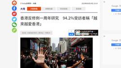 香港反修例一周年研究 94.2%受訪者稱「越來越愛香港」