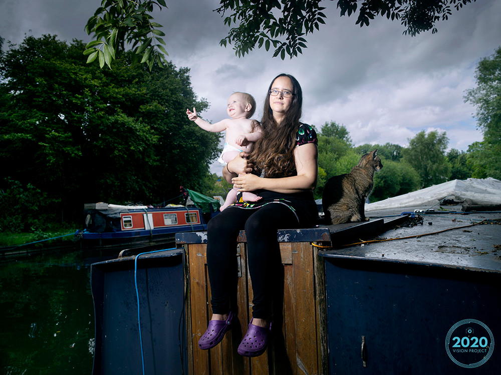 Dr Dana Beale with daughter Lily photographed for the 2020 Vision Project, on her narrowboat home in London by Richard Ansett