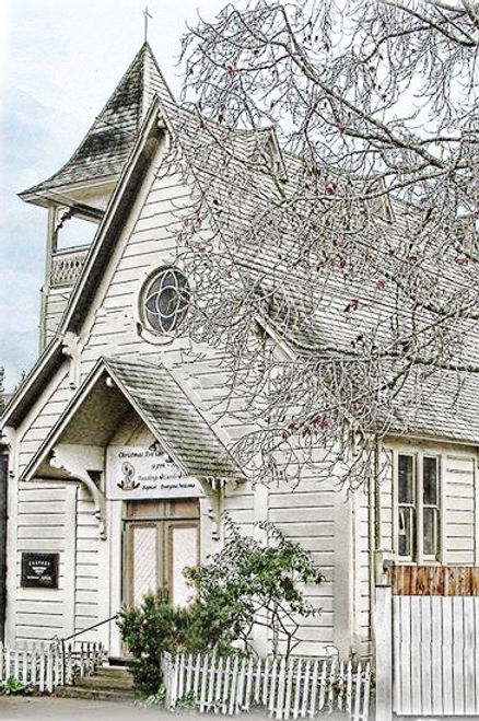 Exterior, Calvary Presbyterian Church, Bolinas, California, founded 1877, white wooden church with bell tower