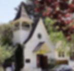 White wooden church, Calvary Presbyterian, Bolinas, California, founded 1877