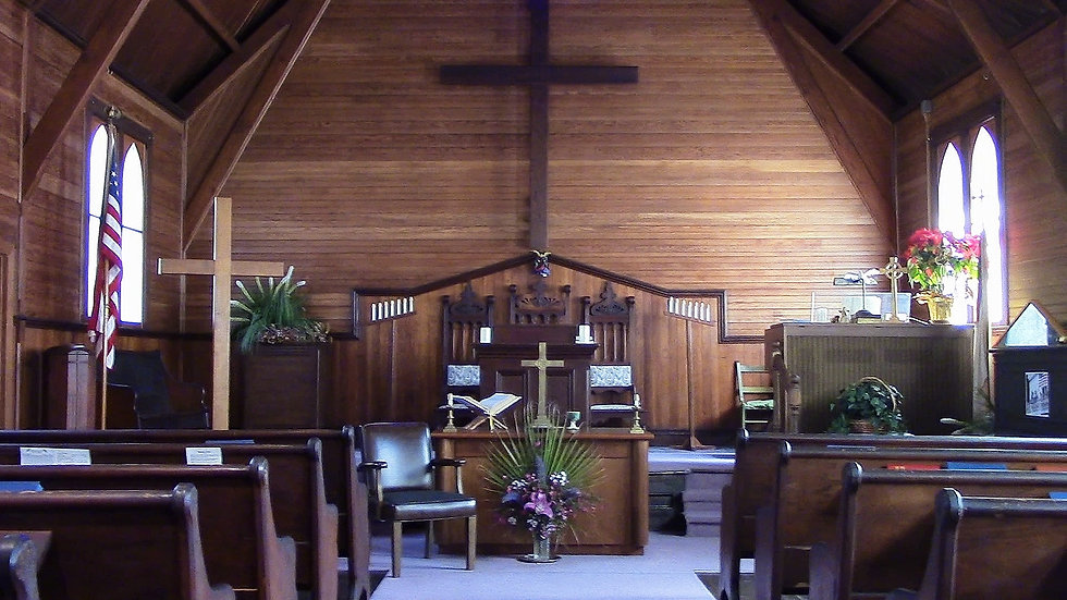 Interior of Calvary Presbyterian Church in Bolinas California, wooden church more than 100 years old