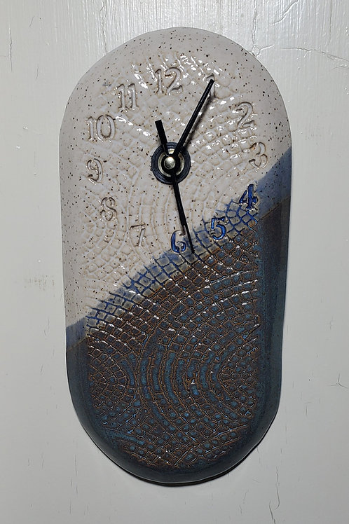 Handmade Ceramic Blue & White Wall Clock