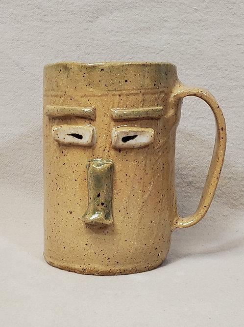 Alex - Handmade Beige Ceramic Face Mug