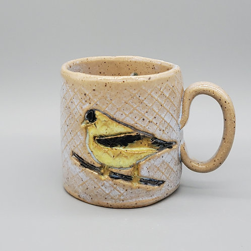 Handmade Ceramic Soft Periwinkle Blue Mug with a Gold Finch