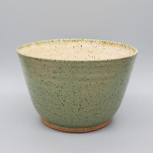 Handmade Green & Beige Ceramic Soup Bowl / Cereal Bowl