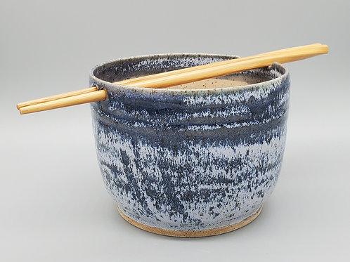 Handmade Navy Blue Frost Ceramic Ramen / Rice / Noodle Bowl