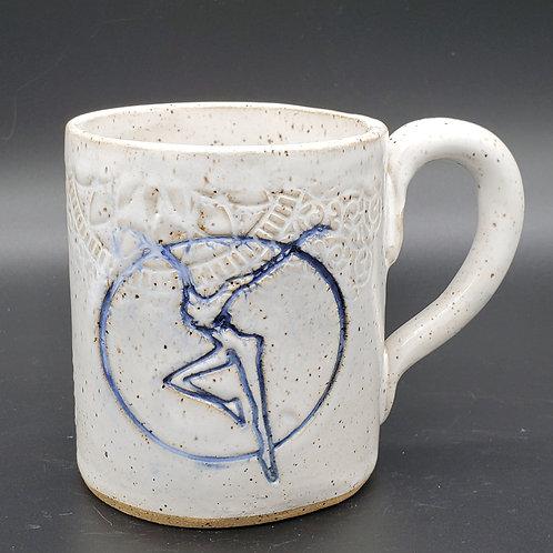 Pre-Order Handmade White Ceramic Mug with a Blue Fire Dancer / DMB Mem