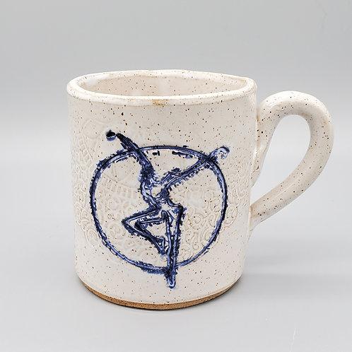 Handmade White Ceramic Mug with a Blue Fire Dancer / DMB Mem