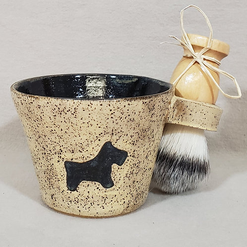Handmade Ceramic Shaving / Lathering Bowl with Brush & Beard Soap Gi