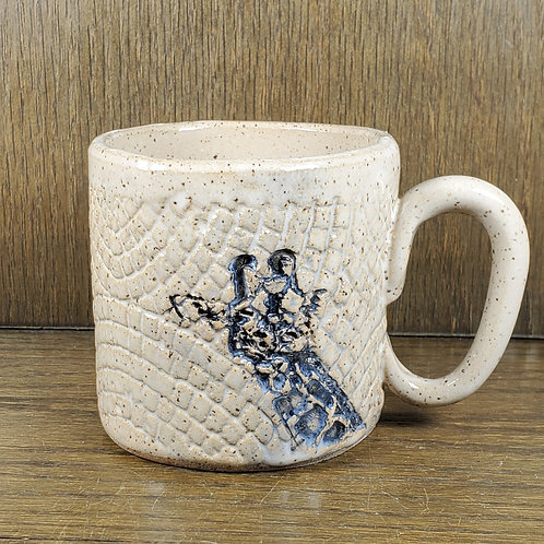 Handmade Ceramic White Mug with a Giraffe