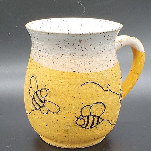 Handmade Ceramic White & Gold Mug with Honey Bees