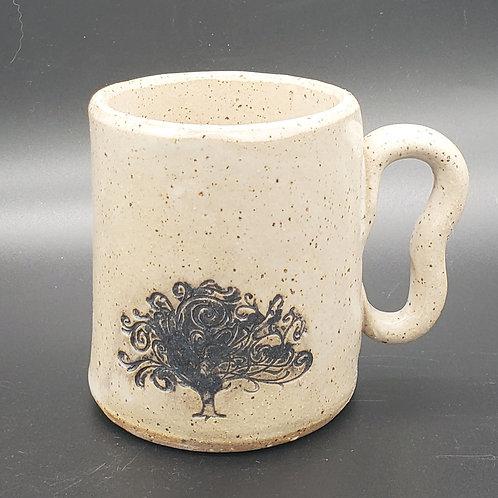 Handmade Ceramic White Mug with a Black Tree of Life