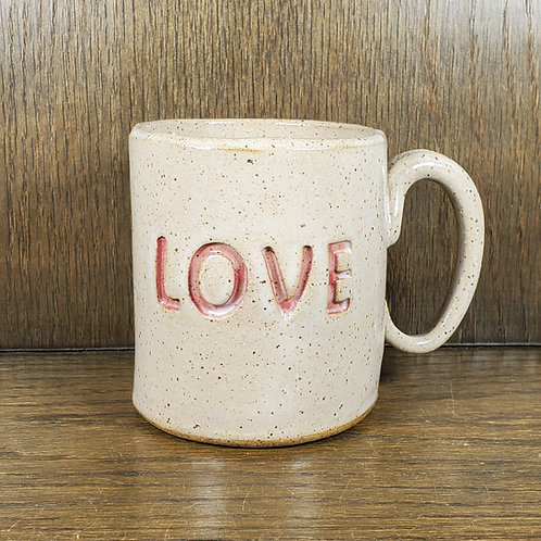 Handmade Ceramic White Love  Mug