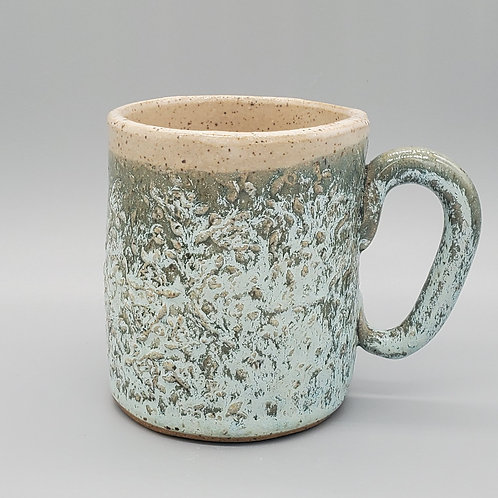Handmade Ceramic Frosted Green Mug with a Sea Turtle Pattern