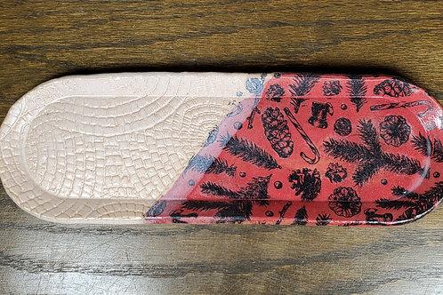 Handmade Holiday Red & White Ceramic Serving Tray / Olive Tray / Cracke