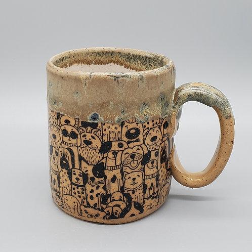 Pre-Order Handmade Beige Ceramic Mug with Puppy Dogs