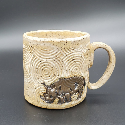 Handmade Black & Gold Rhino on a Beige Textured Ceramic Mug
