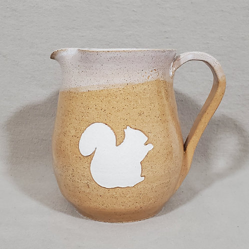 Handmade White Squirrel on a Beige Glazed Ceramic Caraffe / Small Pitcher