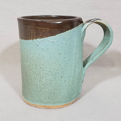 Handmade Wood Pattern Turquoise Ceramic Mug