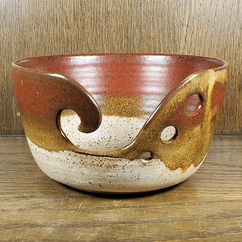 Handmade Red, Brown & Beige Ceramic Yarn Bowl / Gift for Her